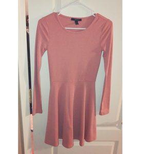 Blush colored long sleeve dress